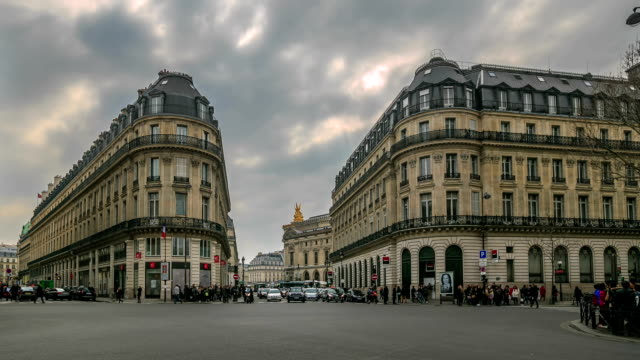 hd time lapse : plaza opera in paris - angle stock videos & royalty-free footage