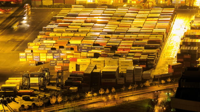 4K Time Lapse : Port Working Cargo Container Osaka