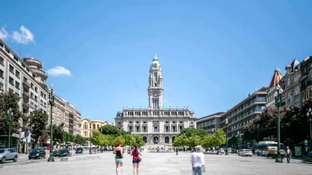 time lapse : porto town hall on avenida dos aliados - allied forces stock videos & royalty-free footage