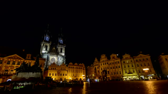 4k time lapse prague old town square at night - stare mesto stock videos & royalty-free footage