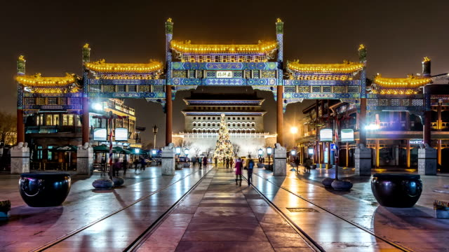 Time Lapse - Qianmen Street at Night (Zoom Out)