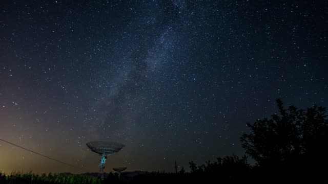 time lapse- radio telescope under the milky way, galaxy (rl pan) - radio telescope stock videos and b-roll footage