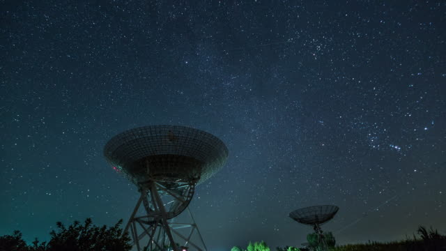 time lapse- radio telescope under the milky way, galaxy (ws la lr pan) - radio telescope stock videos and b-roll footage