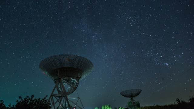 time lapse- radio telescope under the milky way, galaxy (ws la rl pan) - radio telescope stock videos and b-roll footage