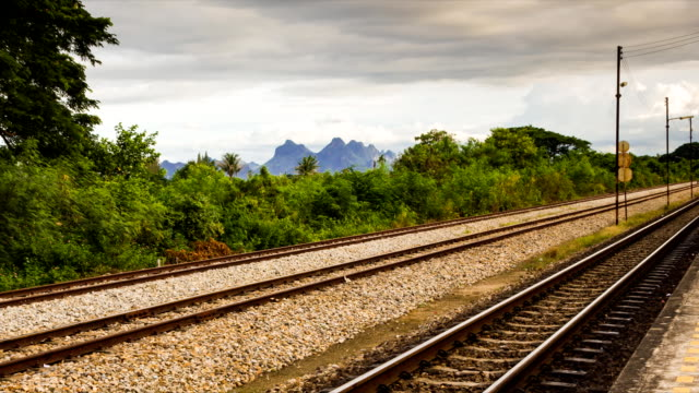Time lapse railway track and cloudy background
