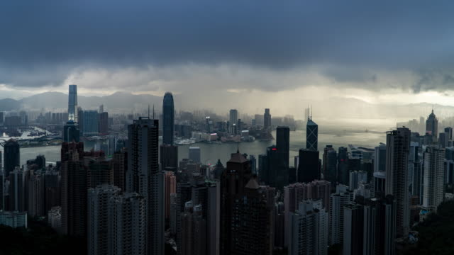time lapse : rain in hong kong high view building - extreme weather stock videos & royalty-free footage