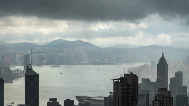 time lapse : rain in hong kong high view building - dust storm stock videos & royalty-free footage