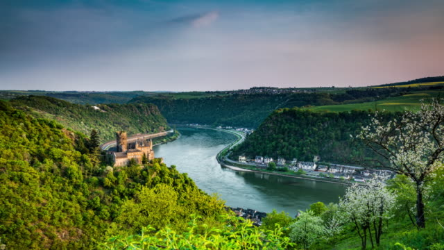 time lapse, rhine valley and castle katz in germany - tracking shot - castle stock videos & royalty-free footage