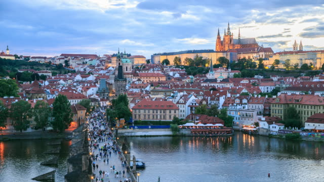 4k time lapse :romantic city of prague - gothic style stock videos & royalty-free footage