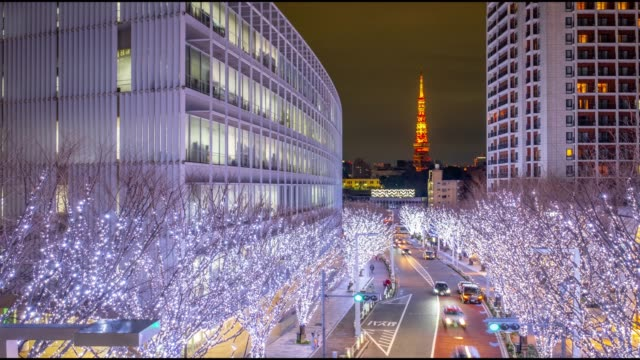 4k time lapse - roppongi area with light decoration on the tree with tokyo tower iconic landmark of tokyo in background - roppongi tokyo japan - roppongi stock videos and b-roll footage