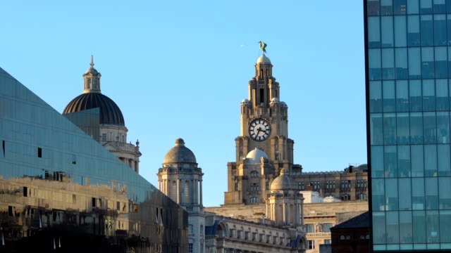 time lapse royal liver building, pier head from albert dock, liverpool, england, uk - dome stock videos & royalty-free footage