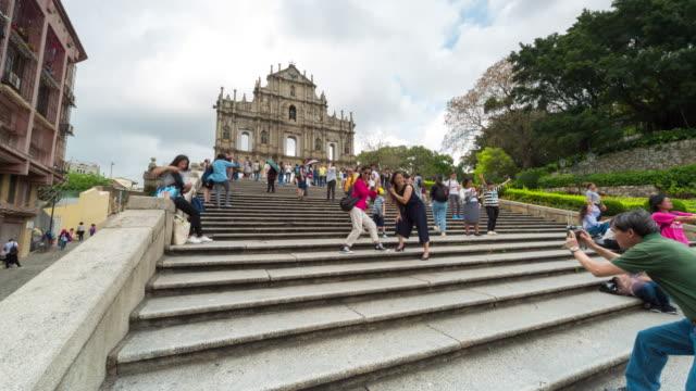 Lapso de tempo: Ruínas da Catedral de São Paulo atrair centenas de turistas como uma grande atração em Macau. China