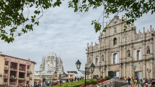 time lapse ruins of st.paul's church in macau city - macao stock videos & royalty-free footage