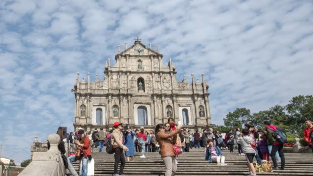 Zeitraffer Ruinen der St.paul Kirche in Macau Stadt