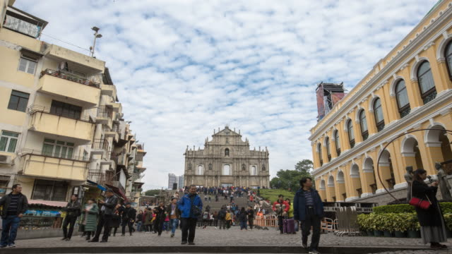 Time lapse Ruins of st.paul's church in macau city