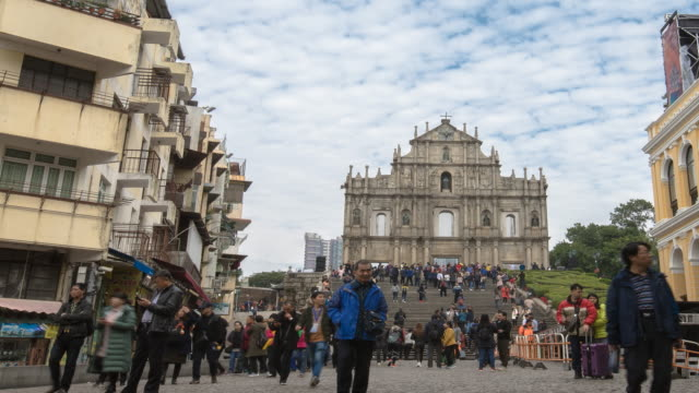 time lapse ruins of st.paul's church in macau city - ruins of st. paul's macao stock videos & royalty-free footage