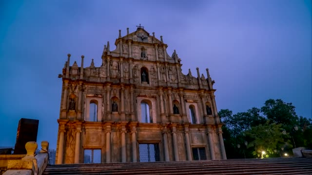 4K Time lapse Ruins of St.Paul's church in morning sunlight, Macau