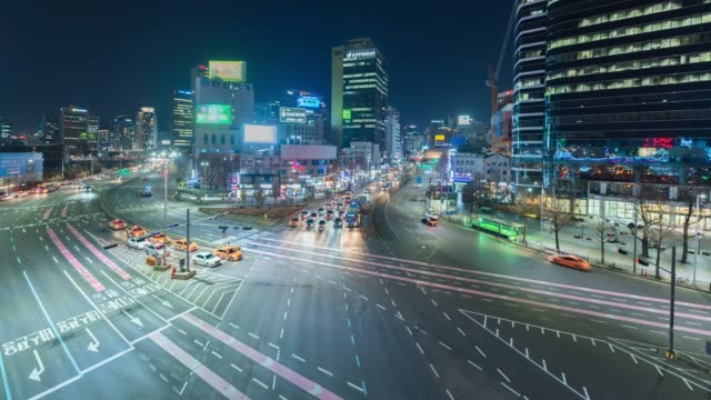 4k time lapse : rush hour traffic in seoul city skyline modern building and architecture at night time,south korea - trapped stock videos & royalty-free footage