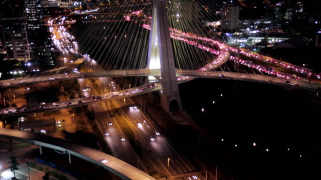 Time Lapse. Sao Paulo. busy traffic over bridge at night