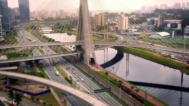 time lapse. sao paulo. busy traffic over bridge - cable stayed bridge stock videos & royalty-free footage