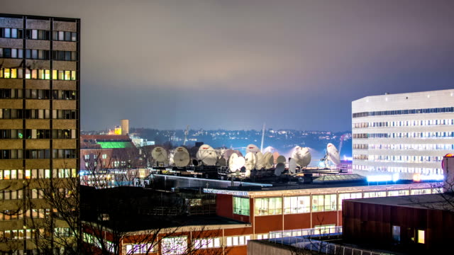 HD Time Lapse: Satellite Dishes on Roof