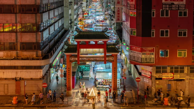 4k time lapse scene of temple street night market, yau ma tei station, hong kong - temple street market stock videos and b-roll footage