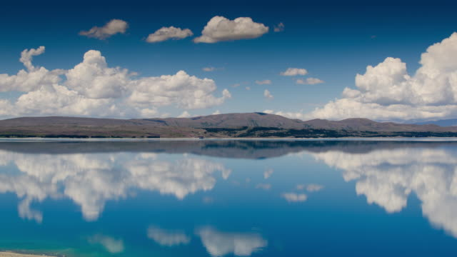 Time Lapse scenery of Blue sky and turquoise lake at lake Pukaki Mt.cook national park , New zealand