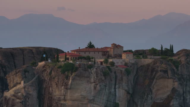 time lapse scenics of clouds moving over meteora/ greece. - monastero video stock e b–roll