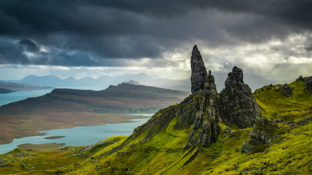 time lapse : scotland - old man of storr - skye stock videos and b-roll footage