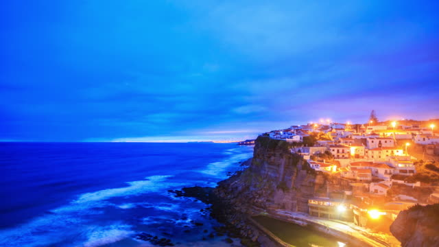 4k time lapse : azenhas do mar village - lisbon stock videos and b-roll footage