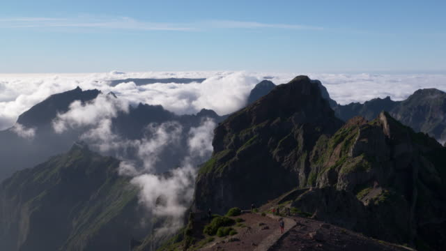 Time Lapse. Sea of clouds and mountains seen from Pico do Arieiro (mountain). Pico do Arieiro, Madeira Island, Portugal