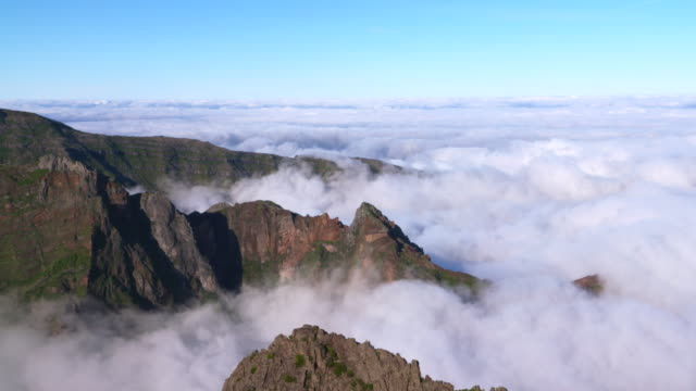 Time Lapse. Sea of clouds seen from Pico do Arieiro (mountain). Pico do Arieiro, Madeira Island, Portugal