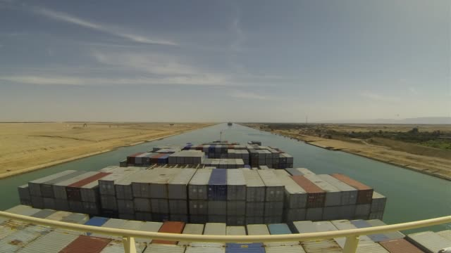 time lapse sequence from the deck of the ebba maersk container ship, operated by a.p. moeller-maersk a/s, during its southbound passage along the... - suez canal stock videos & royalty-free footage