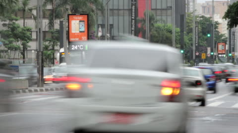 stockvideo's en b-roll-footage met time lapse sequence of busy traffic and pedestrians in the city of sao paulo. - commercieel landvoertuig
