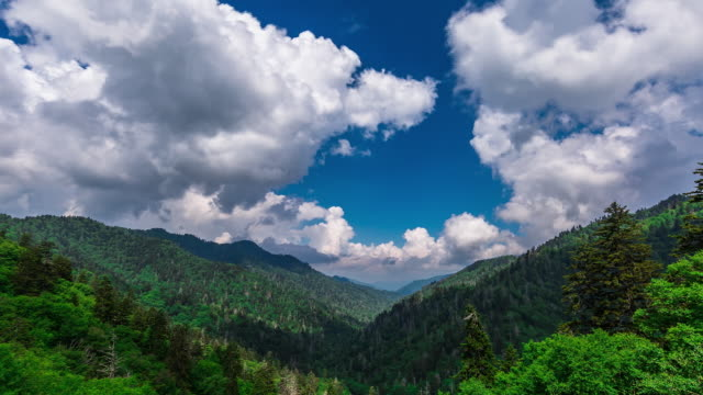 time lapse sequence of clouds drifting over the great smoky national park. - appalachen region stock-videos und b-roll-filmmaterial