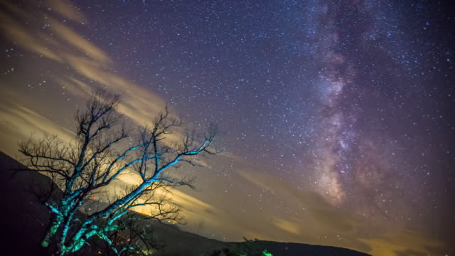 Time lapse sequence of the stars and constellations moving over the Shenandoah National Park.
