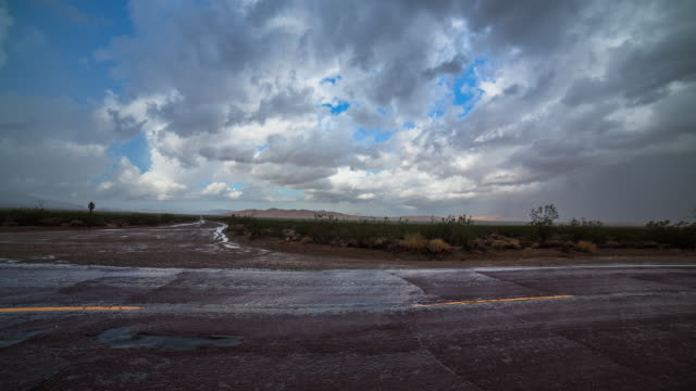 Time lapse sequence showing a rain storm moving over the Route 66 highway.