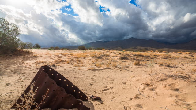 Time lapse sequence showing clouds moving over the Mojave Desert.