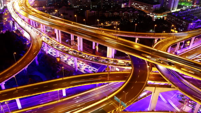 Time Lapse - Shanghai Highway at Night (Zoom)