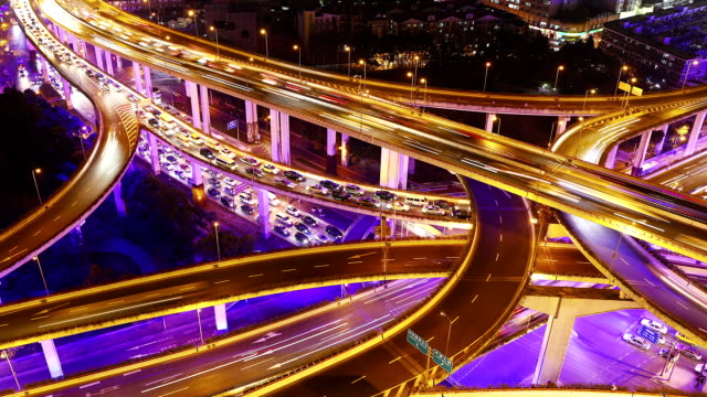 stockvideo's en b-roll-footage met time lapse - shanghai highway at night (panning) - digitaal samengesteld beeld