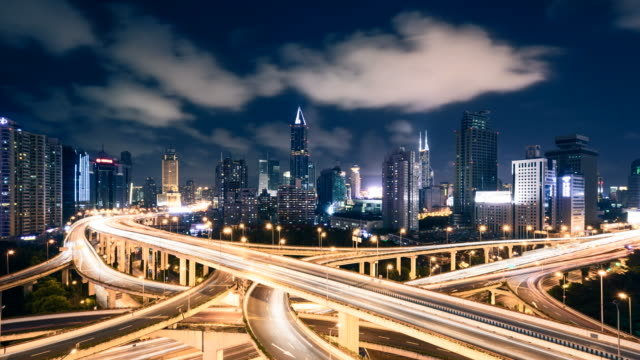time lapse - shanghai highway at night - elevated road stock videos & royalty-free footage