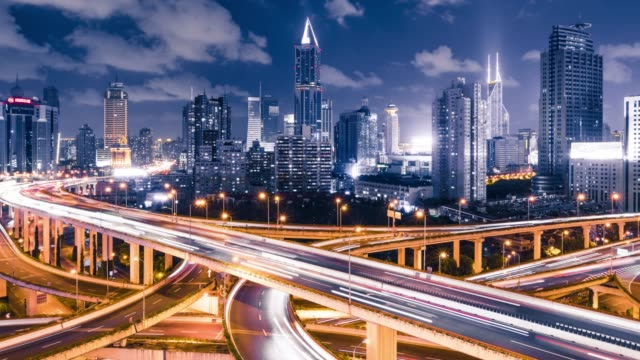 time lapse - shanghai highway at night - china east asia stock videos & royalty-free footage