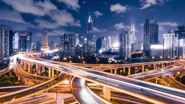 time lapse - shanghai highway at night - bridge built structure stock videos & royalty-free footage