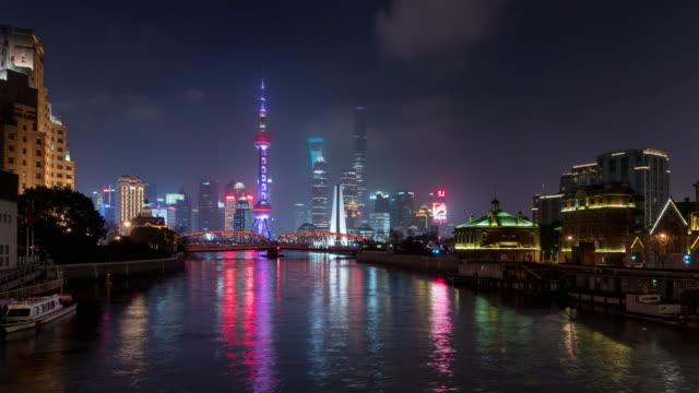 time lapse shanghai skyline / shanghai, china - jin mao tower stock videos & royalty-free footage