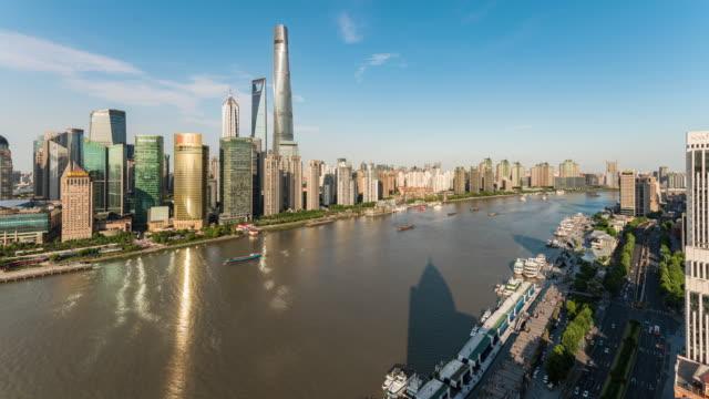 time lapse shanghai skyline - river huangpu stock videos & royalty-free footage