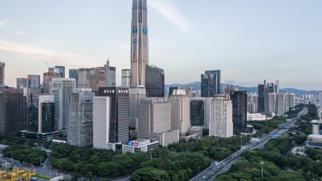 Zeitraffer-Shenzhen Skyline von Tag zu Nacht (verkleinern
