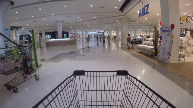 Time lapse shopping cart in supermarket