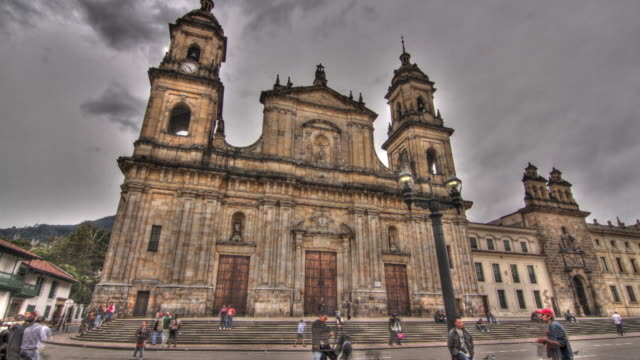 Time lapse shot across the exterior of the Primatial Cathedral of Bogota.