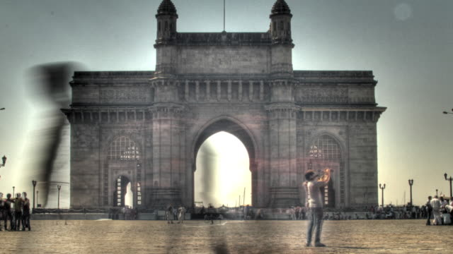 time lapse shot across the gateway of india monument in mumbai. - gate stock videos & royalty-free footage