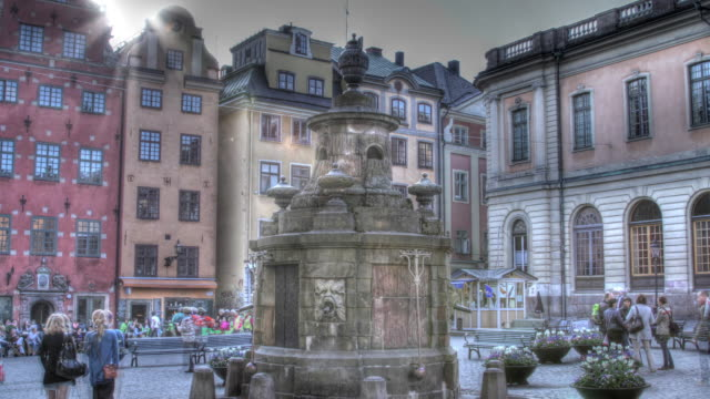 Time lapse shot around a fountain located on Stortorget on the island of Gamla Stan, Stockholm.